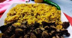 أرز مصري مكرمل بالخلطة مع الكبدة والقوانص
