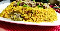 كبسة اللحم المصرية بالأرز البسمتي